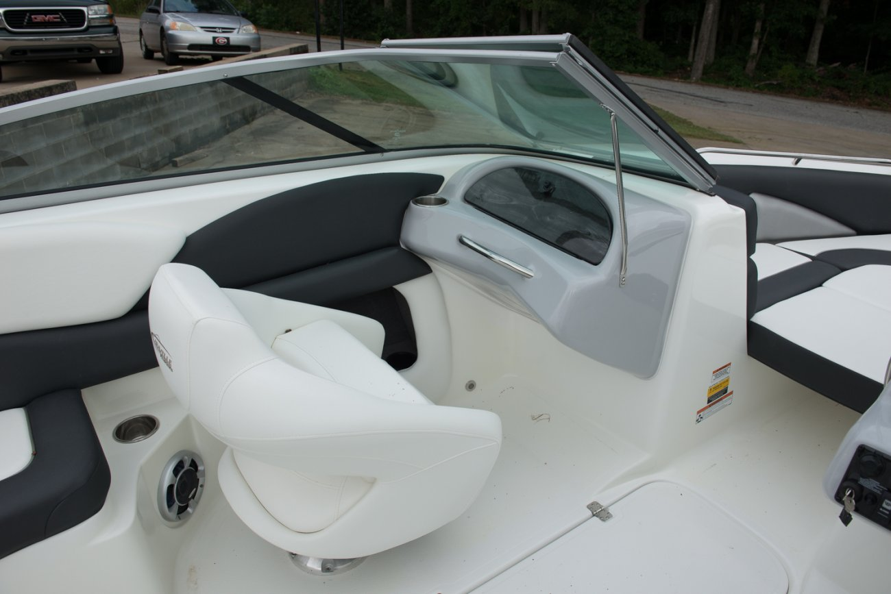 A bow rider is a boat with an open bow area where there are extra seats in front of the windshield.  Bow riders are typically between 17' and 30'long. They are well suited for many recreational water sports such as tubing, water skiing, and swimming.